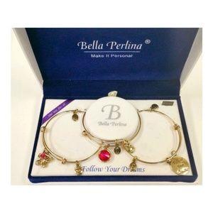 NIB BELLA PERLINA BOXED SET OF 3 CHARM BRACELETS